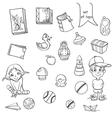 Set of toys books for boys and girls in the loop vector image