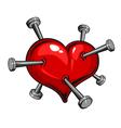 Tattoo nail heart vector image