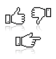 Pixel cursor icons - thumb up like it pointing vector image