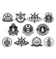 sea emblem set with anchor helm sailing ship vector image vector image