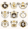 set of vintage elements heraldry labels stylized vector image