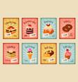 price cards set for bakery dessets vector image