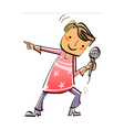 Close-up of boy holding microphone vector image vector image