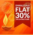 diwali season discount and sale banner with diya vector image