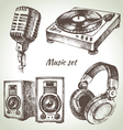 Music set Hand drawn of Dj icons vector image