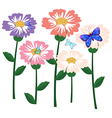 A garden of flowers with butterflies vector image