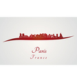Paris V2 skyline in red vector image vector image