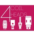 4 coil heads set vector image