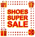Big winter sale poster with SHOES SUPER SALE text vector image