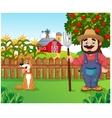 Cartoon farmer holding a rake with dog vector image