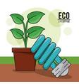 Eco lifestyle bulb light pot plant energy symbol vector image