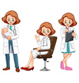 Female doctor in different actions vector image