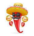 latin maraca mexican hat red cool hot chili pepper vector image