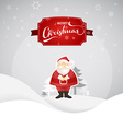 Merry Christmas greeting card with Santa and snowy vector image