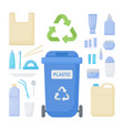 plastic waste sorting flat icon set vector image
