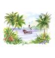 Watercolor Boat on river water vector image