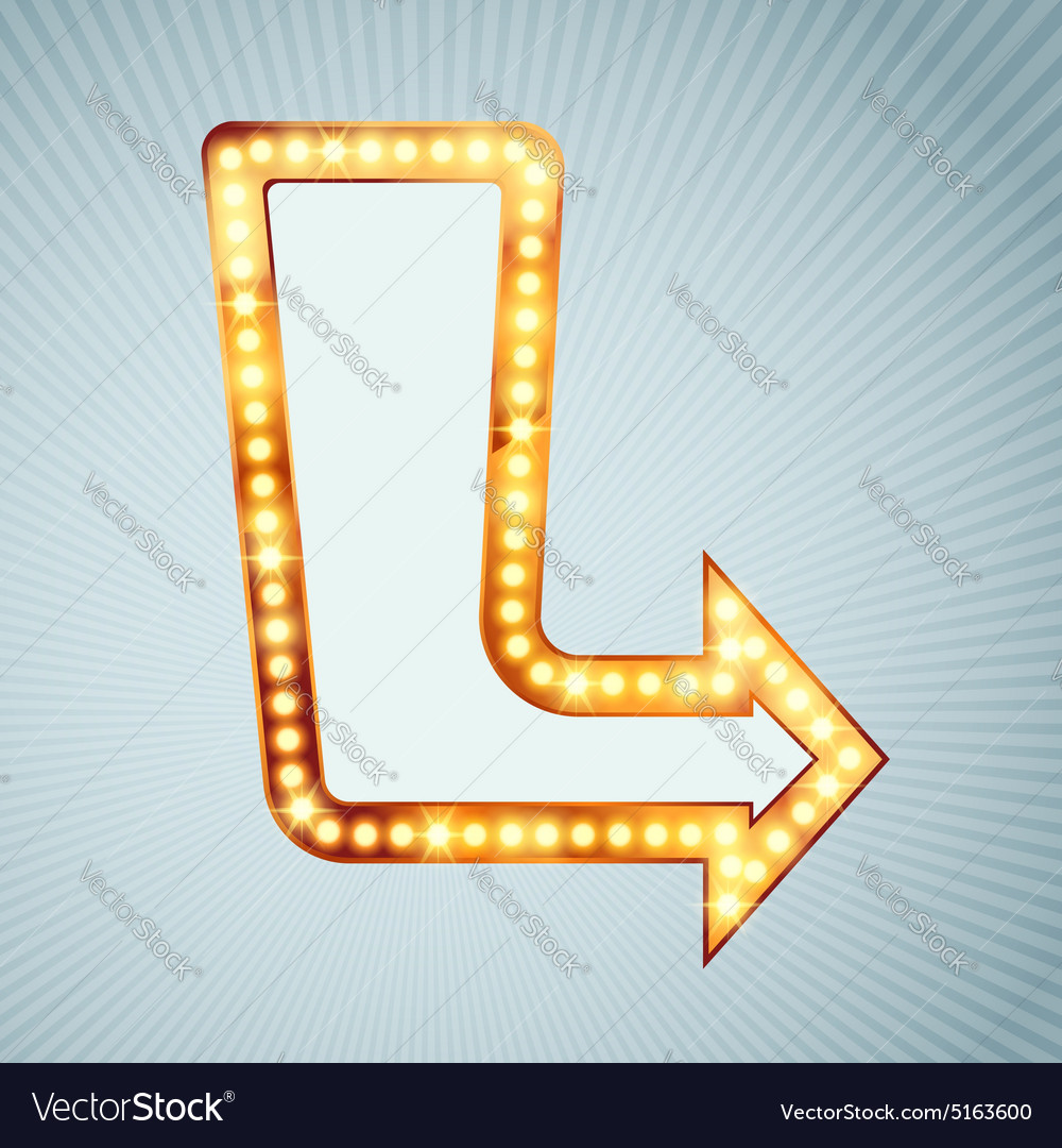 Bright light bulb pointing arrow sign vector