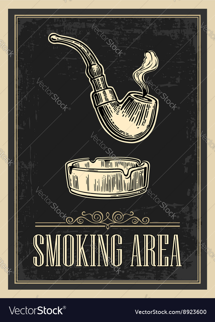 Retro poster  the sign smoking area in vintage vector