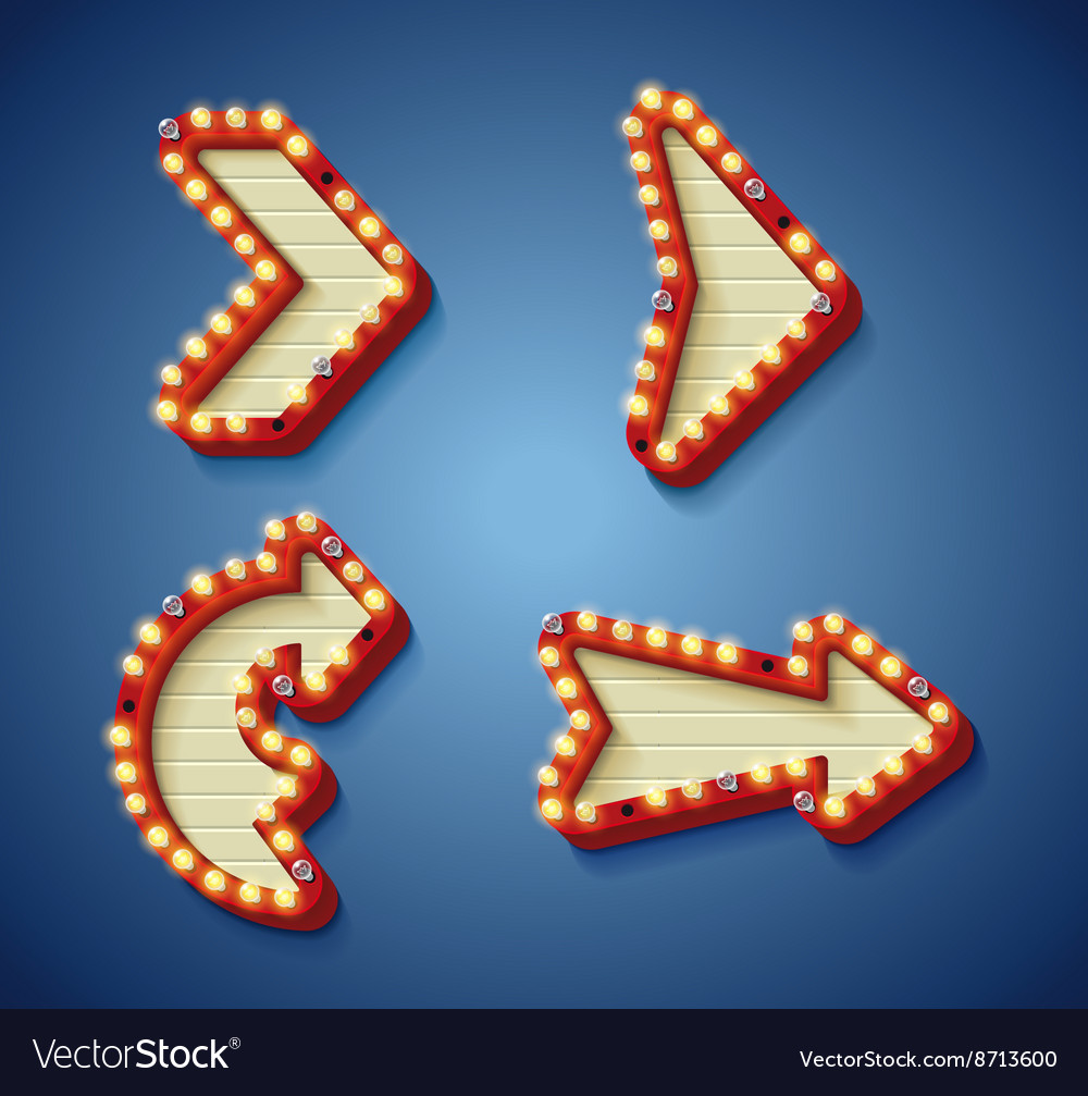 Retro sign with glowing lamps vector