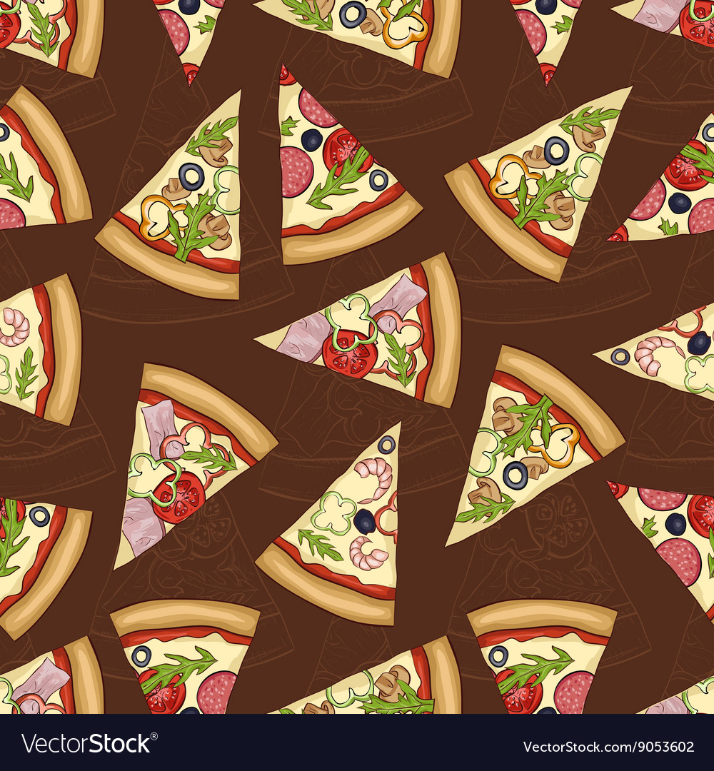 Seamless pattern scetch with four types of pizza vector
