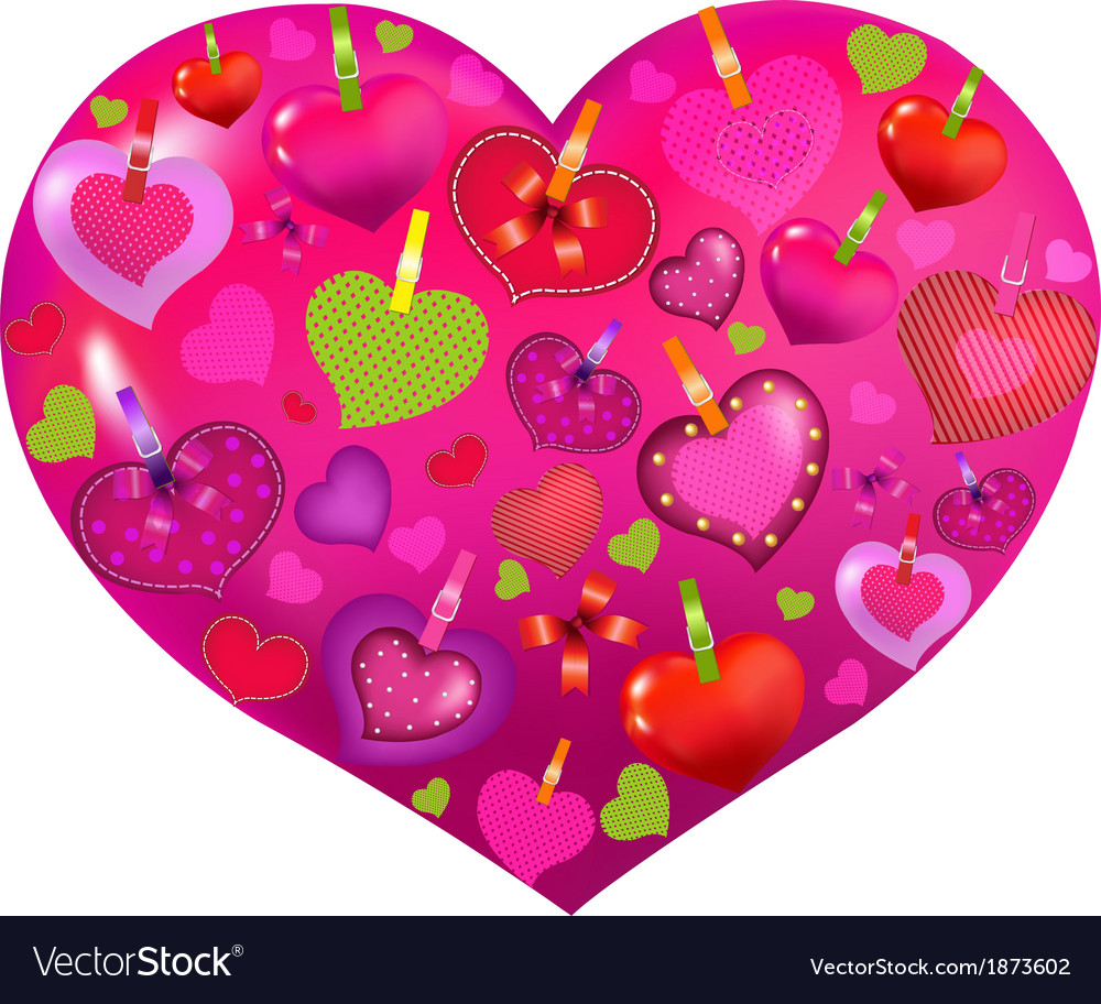 Valentines day card with color hearts vector
