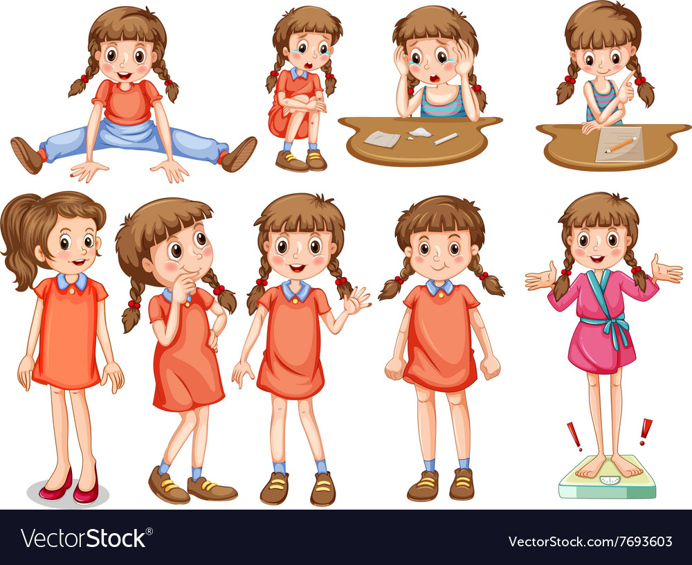 Little girl in different actions vector
