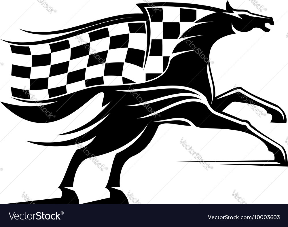 Racehorse with racing flag icon vector