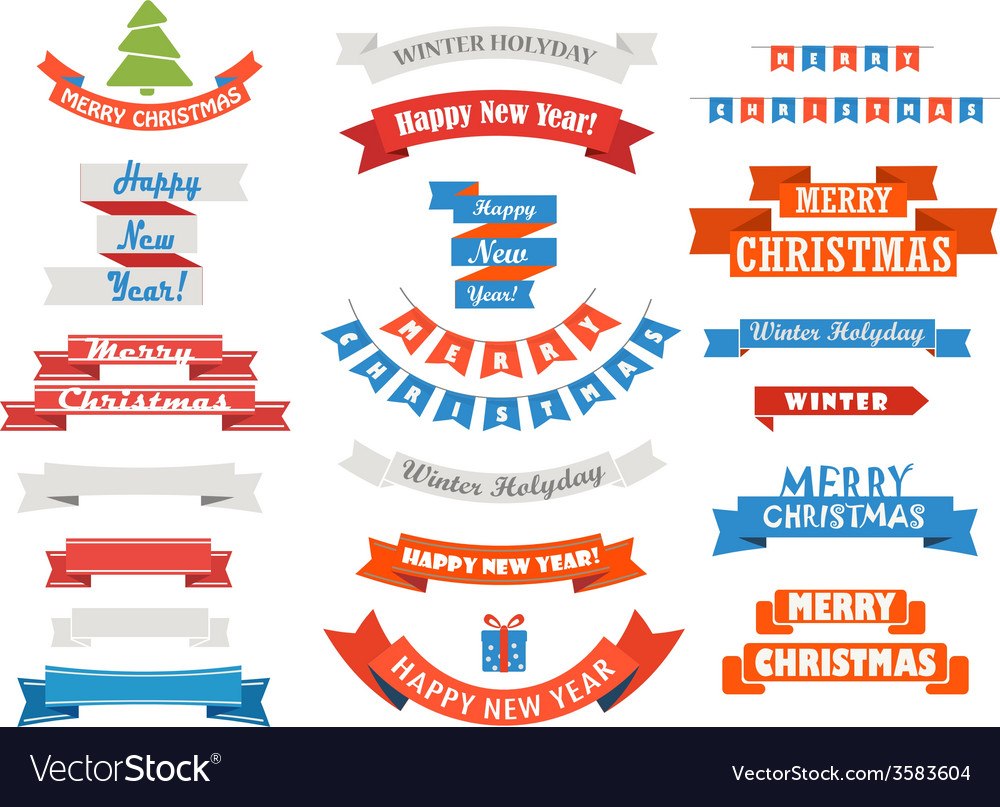 Different retro style christmas ribbons set vector