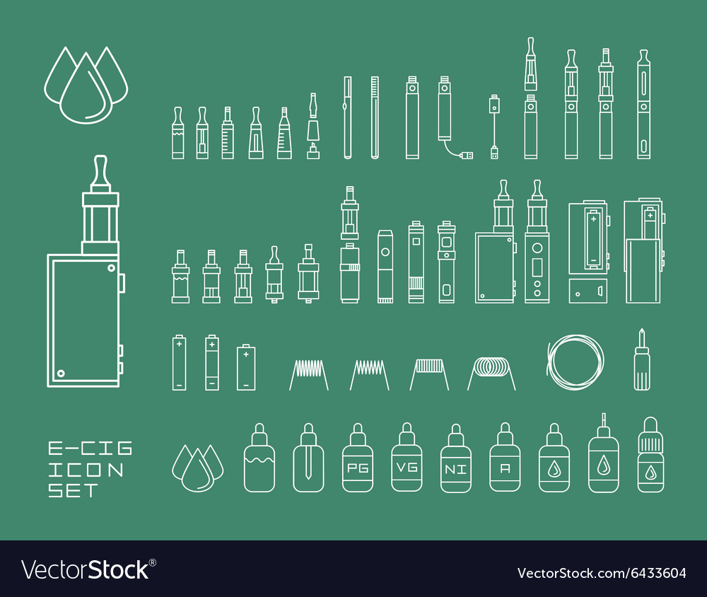 Icon set of vaping ecigarette vector