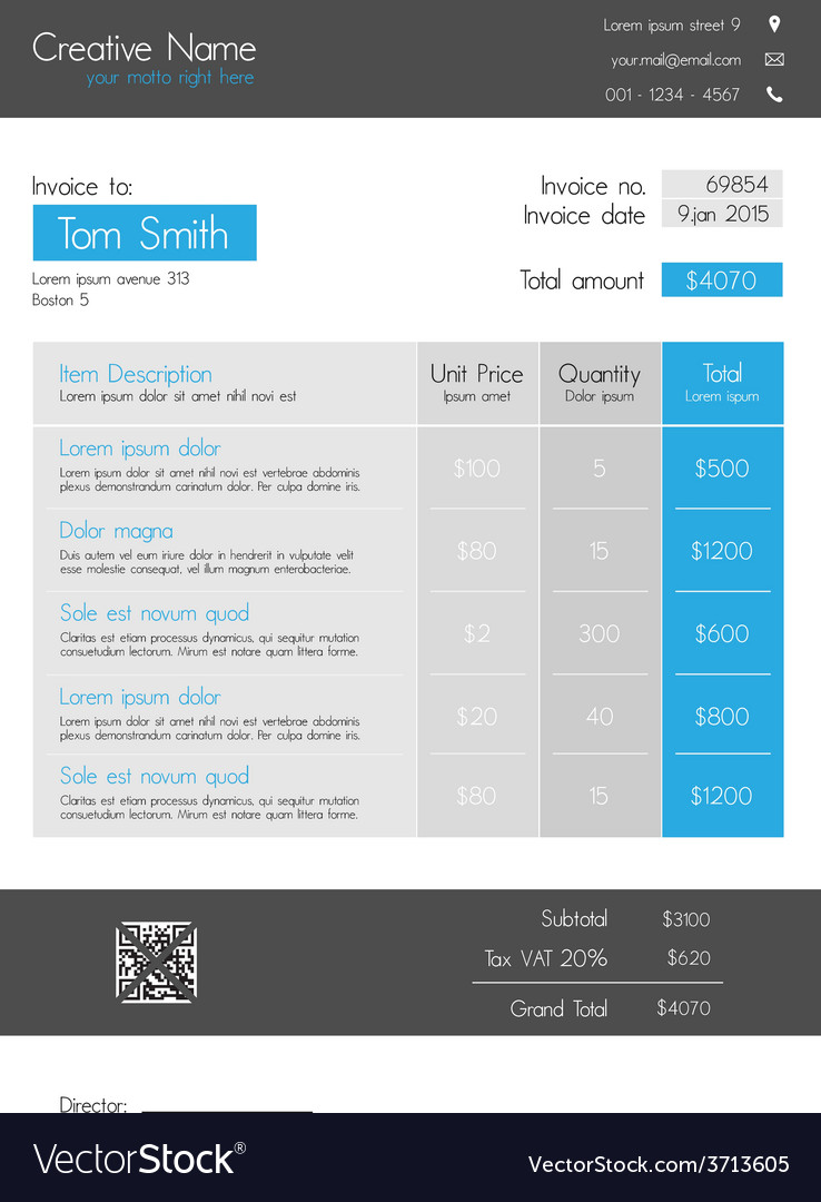 Invoice template  blue theme with big item tab vector