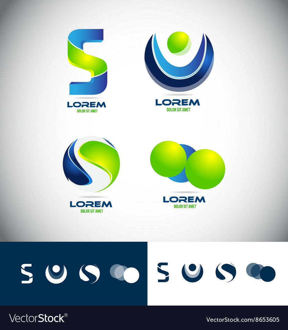 Letter corporate business 3d logo icon set vector