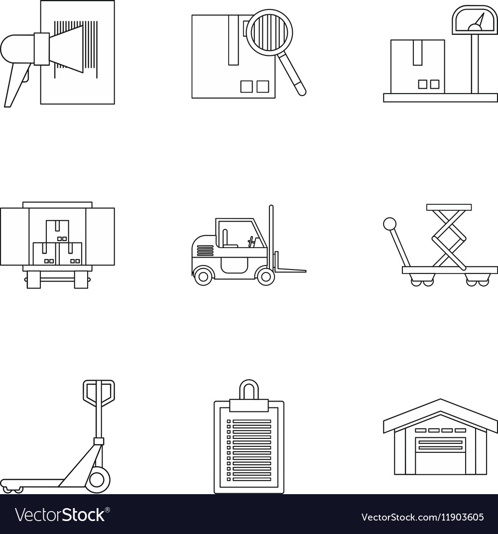 Store icons set outline style vector