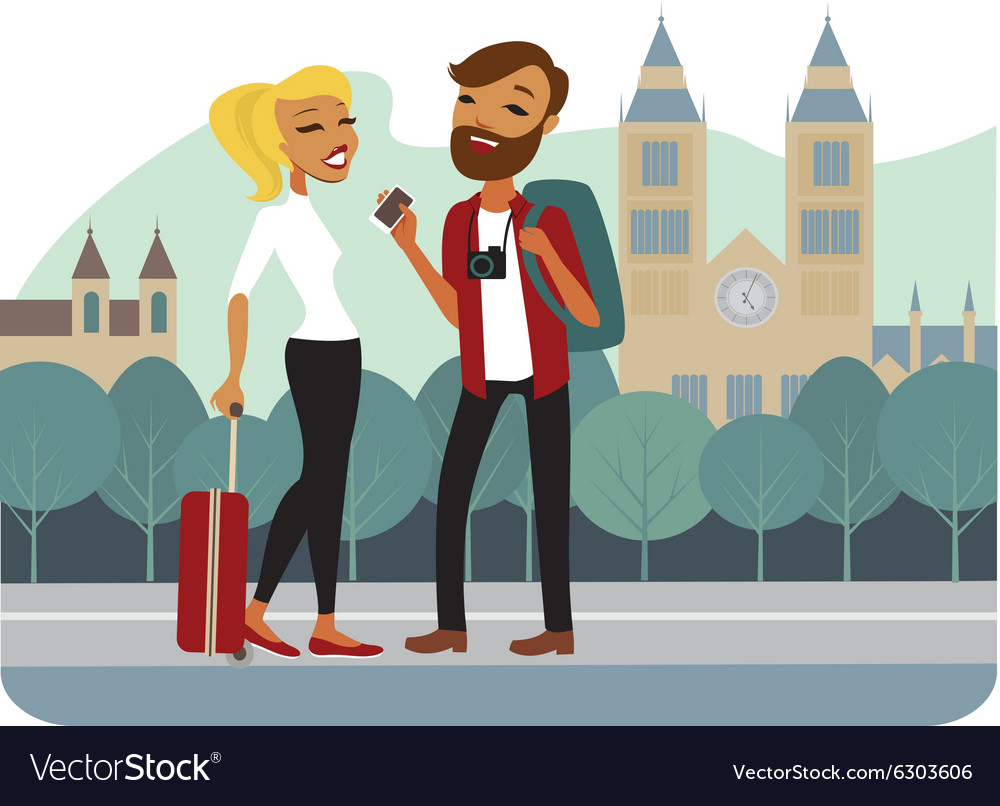 Couple of tourist in old european city vector