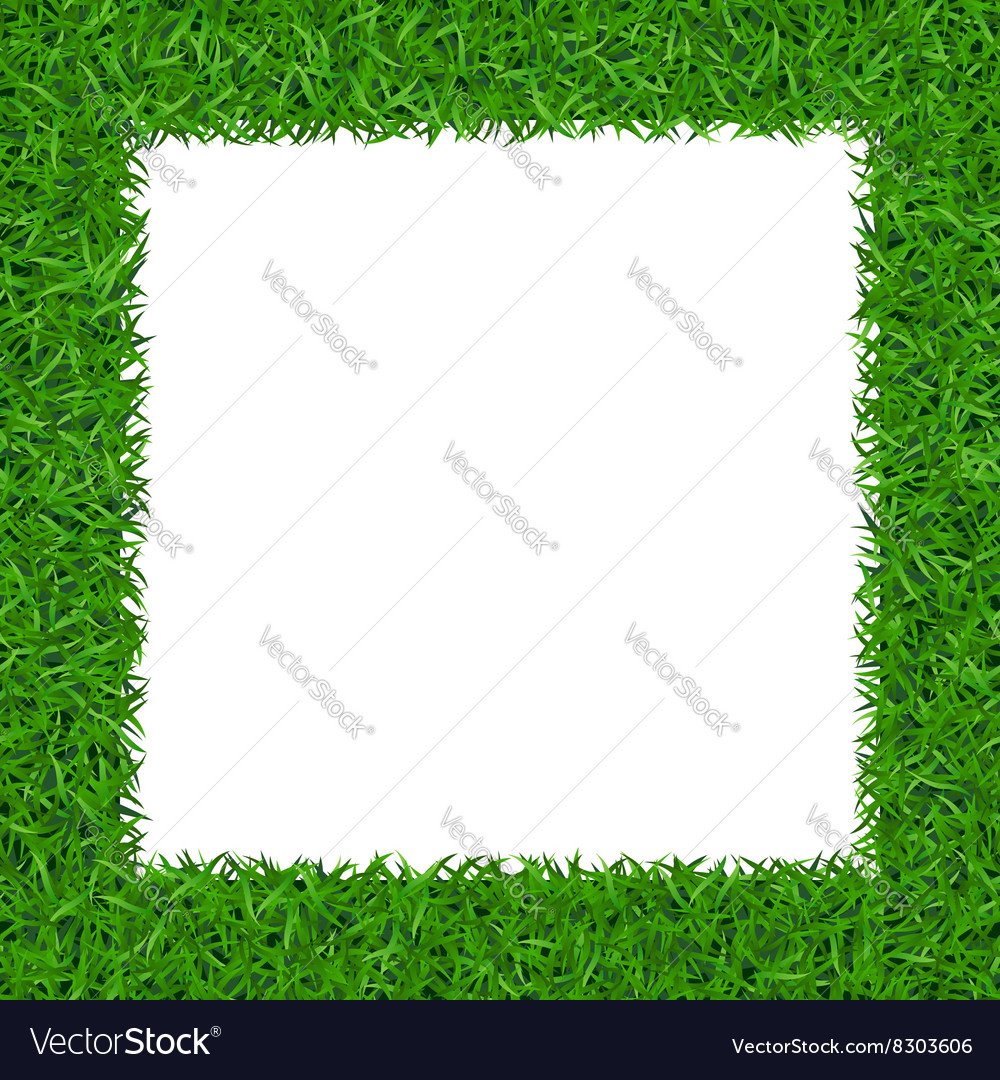 Green grass square frame with copyspace 2 vector