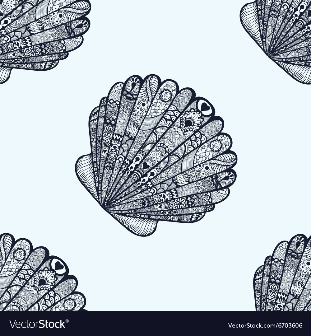 Zentangle stylized sea shell seamless pattern hand vector