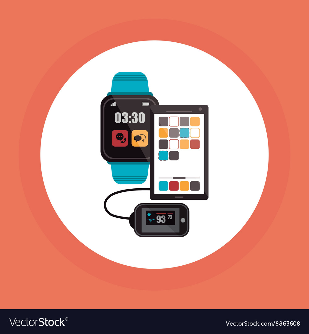Wearable technology design wireless icon flat vector