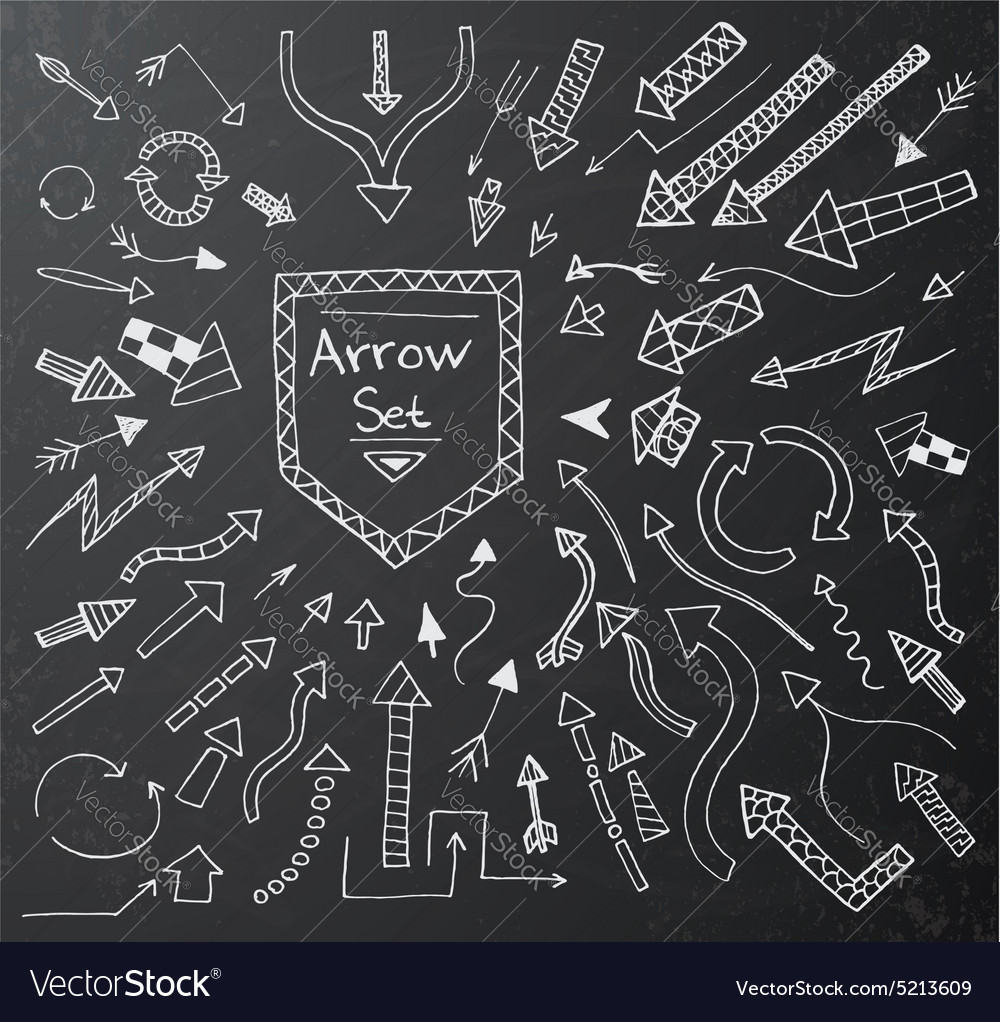 Hand drawn arrow icons set vector