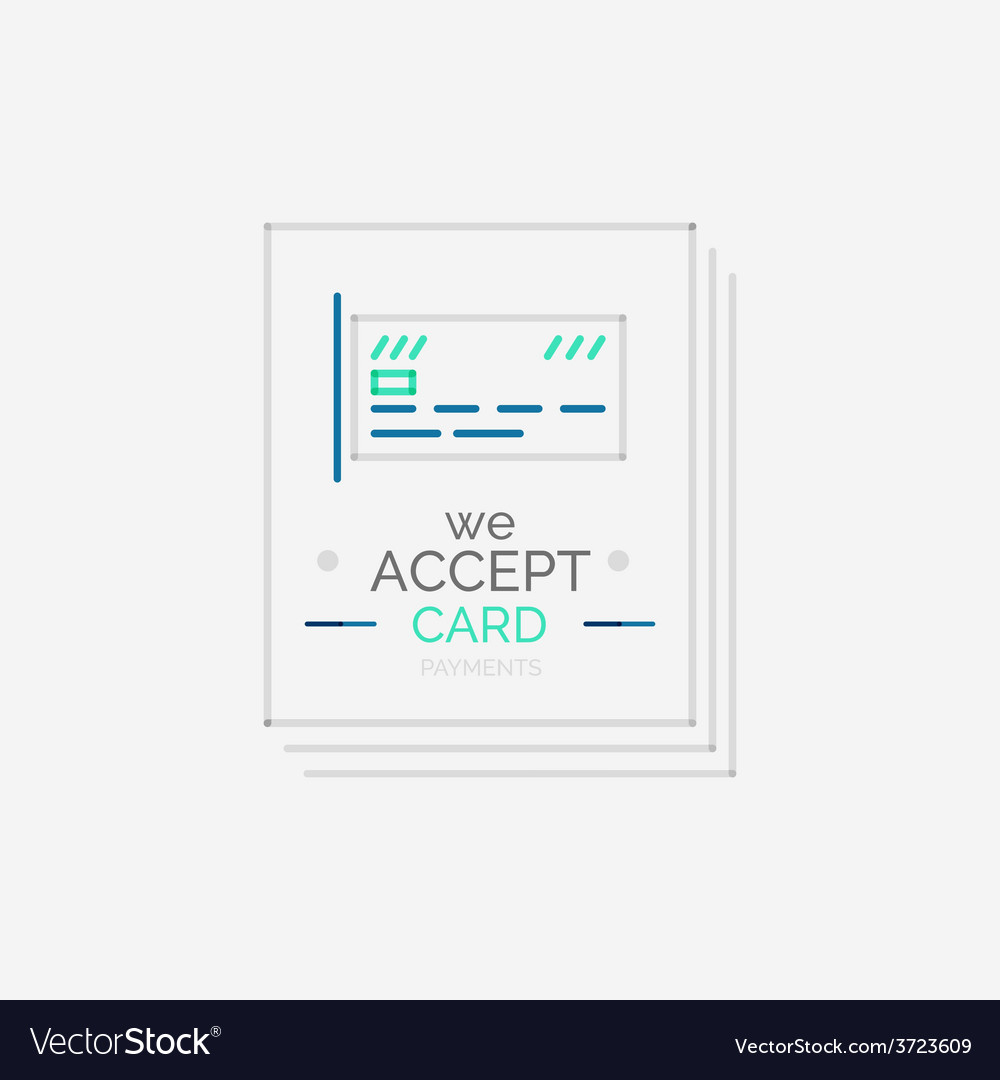 Line design shopping stamps accept card label vector