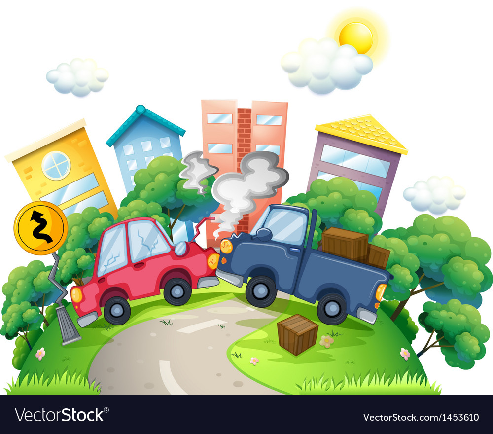 A car crash in the city vector