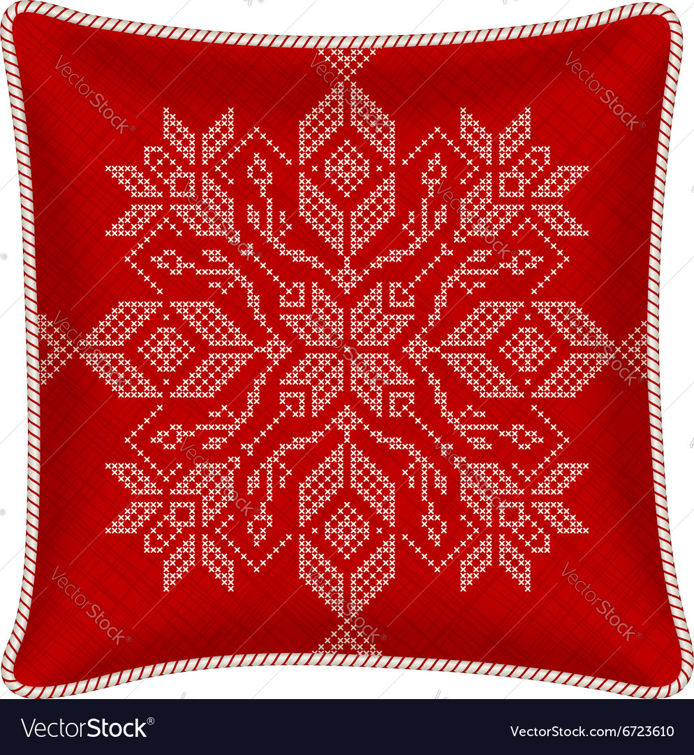 Christmas embroidered pillow vector