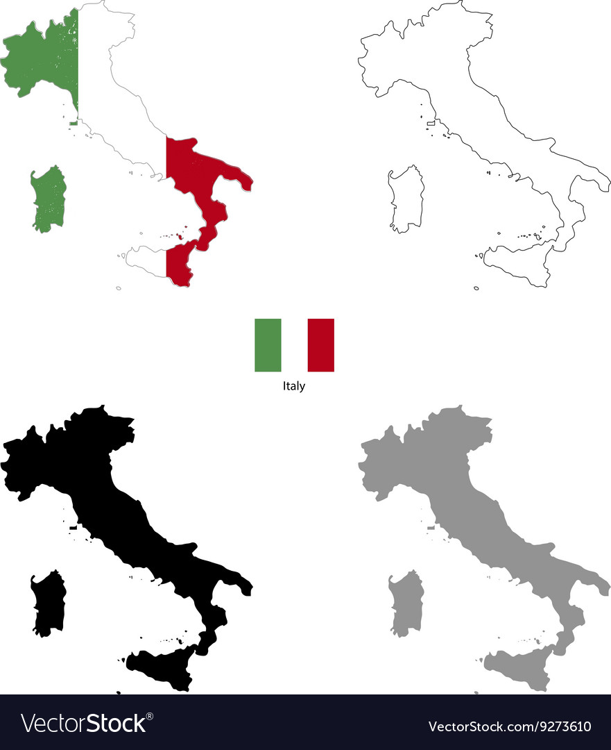 Italy country black silhouette and with flag on vector
