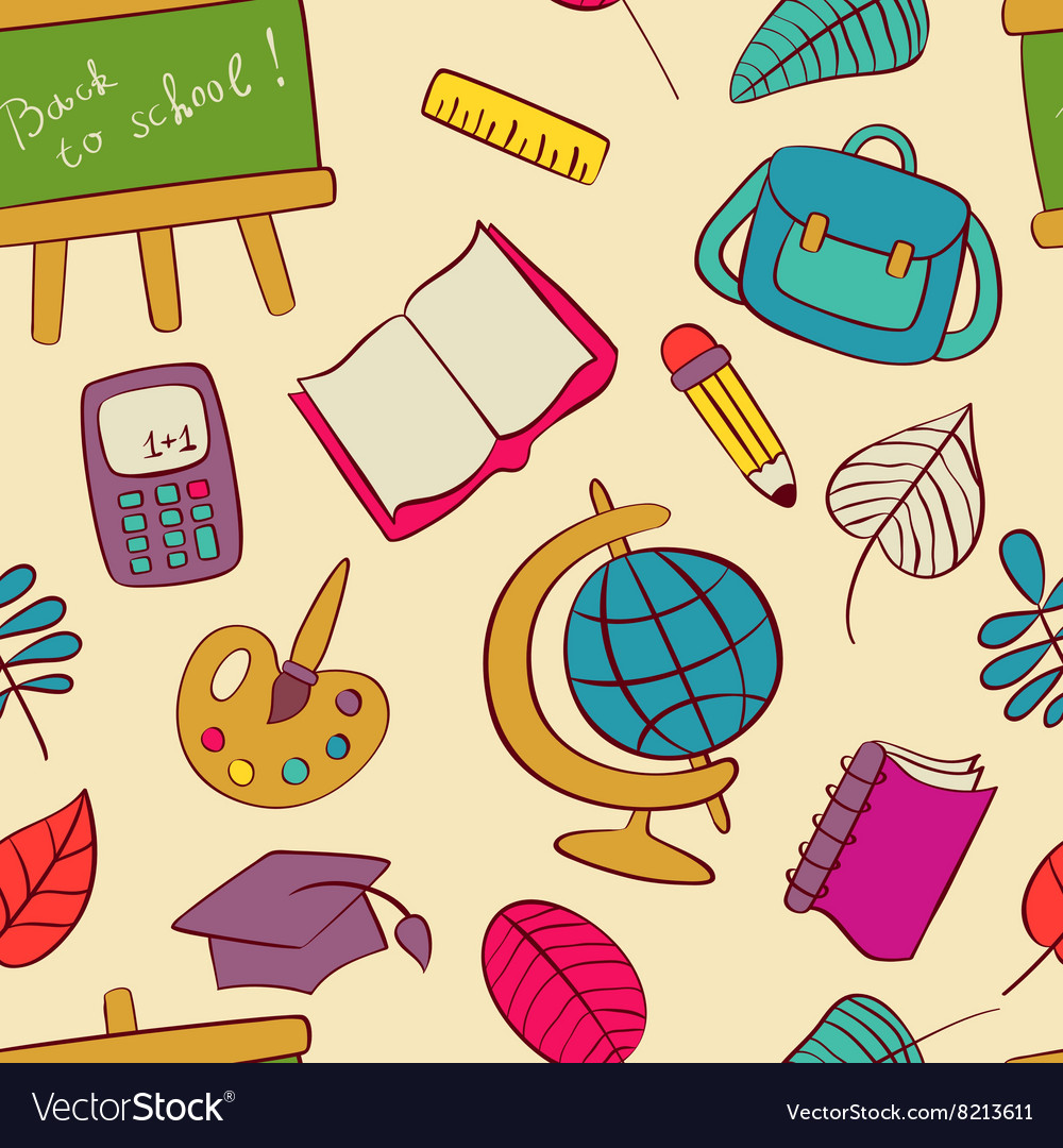 Back to school seamless pattern of kids doodles vector