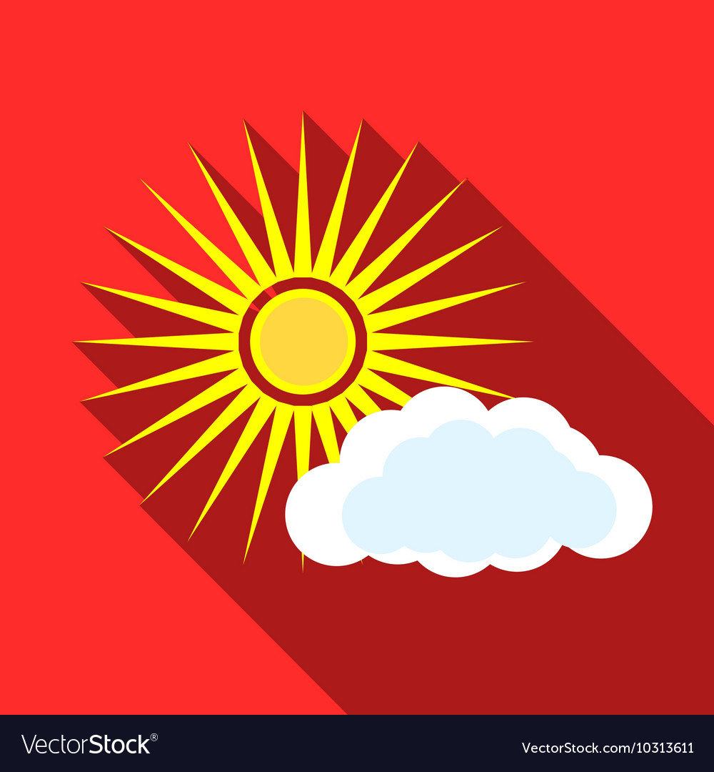 Sun and clouds icon flat style vector