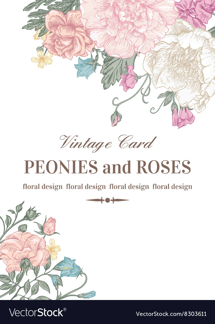 Wedding card with roses and peonies vector