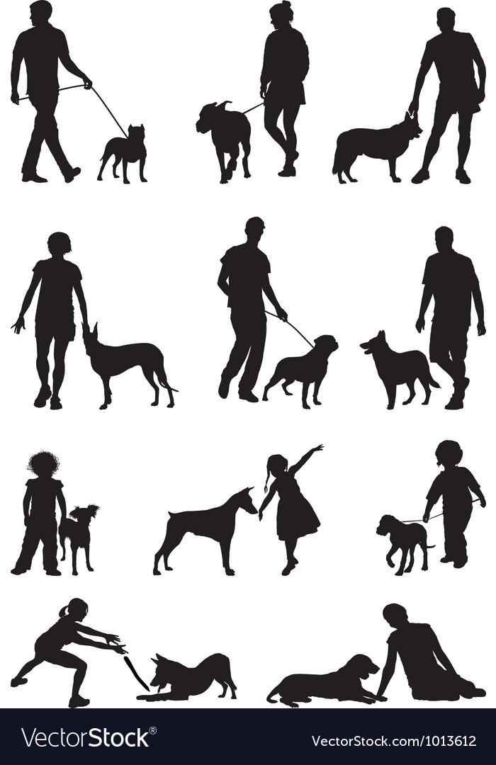 People and dog vector