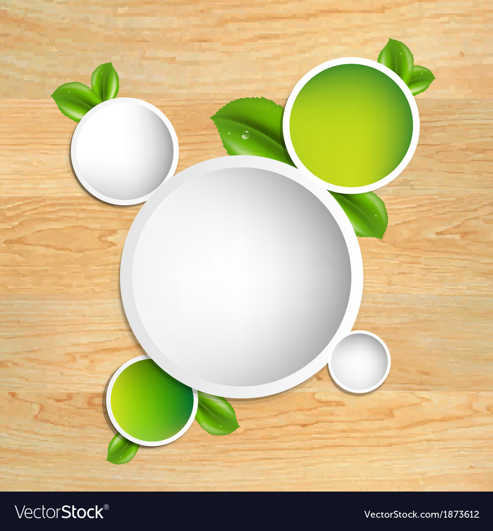 Wood texture with green leaves vector