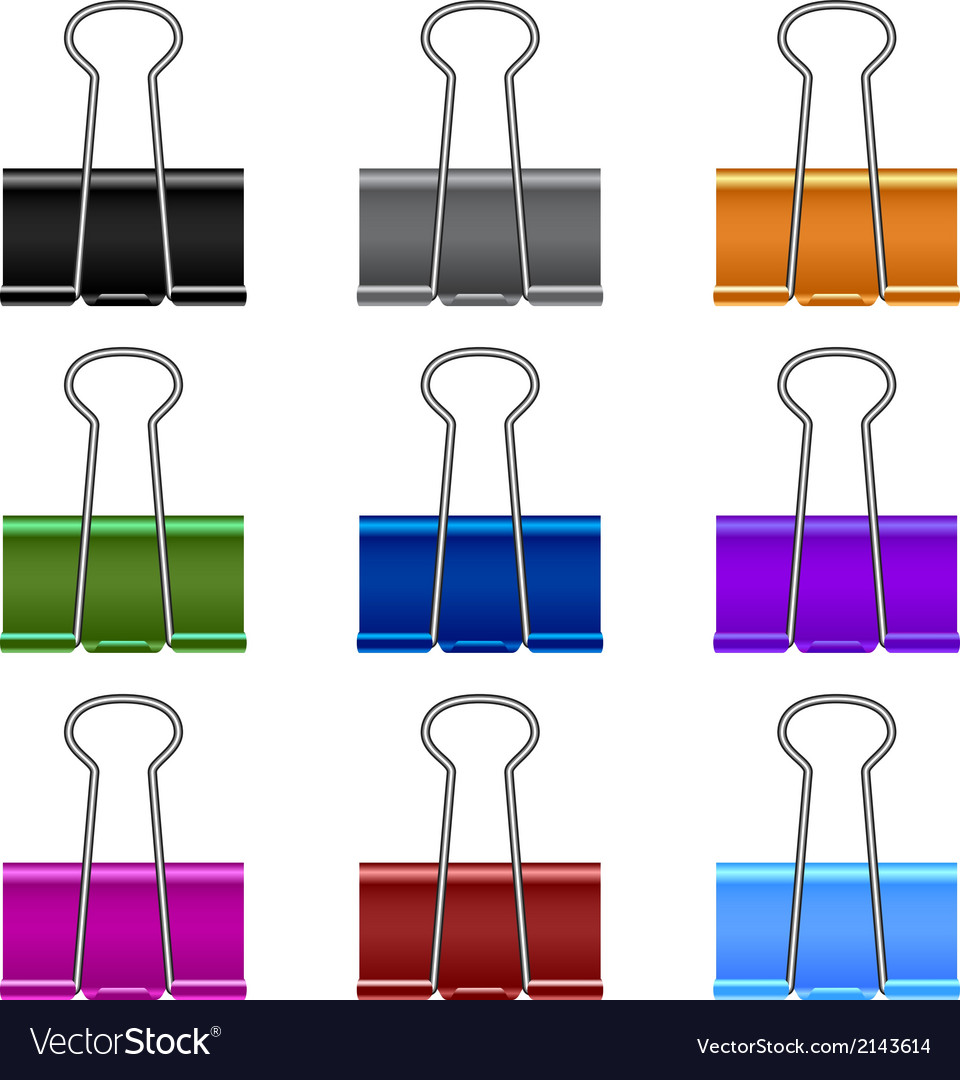 Binder clip set vector
