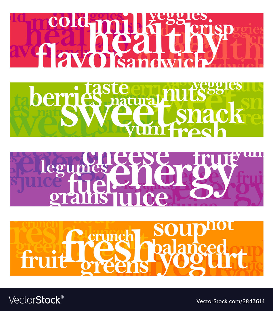 Nutrition words banner set vector