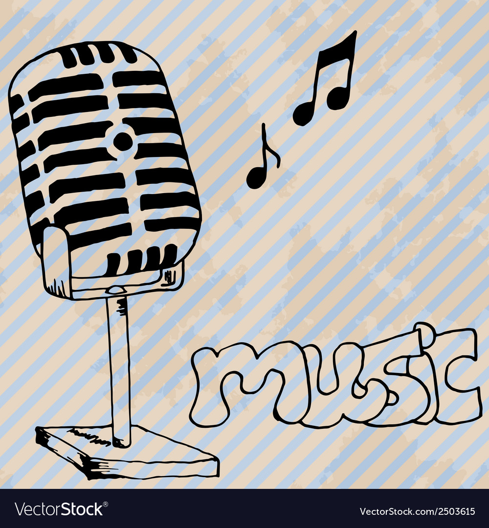 Microphone retro hand drawn design card vector