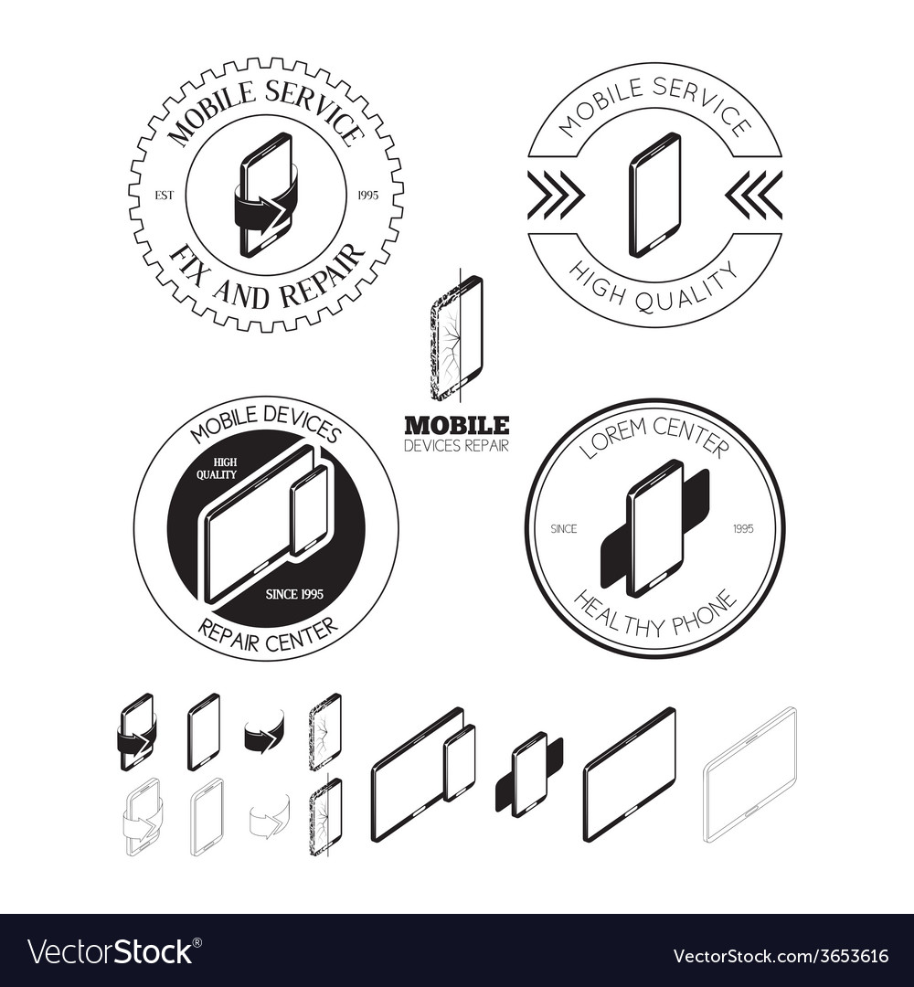 Set of mobile repair service logos labels badges vector